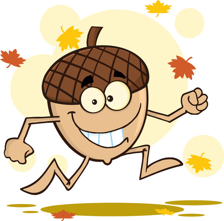 acorn seed: Happy Acorn Cartoon Mascot Character Running With Fall Leaves Background