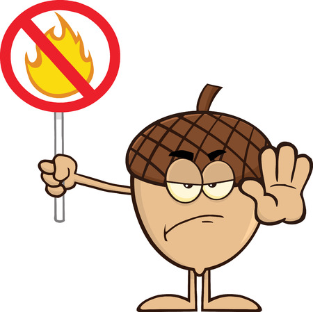 Angry Acorn Cartoon Mascot Character Holding Up A Fire Stop Sign Ilustração