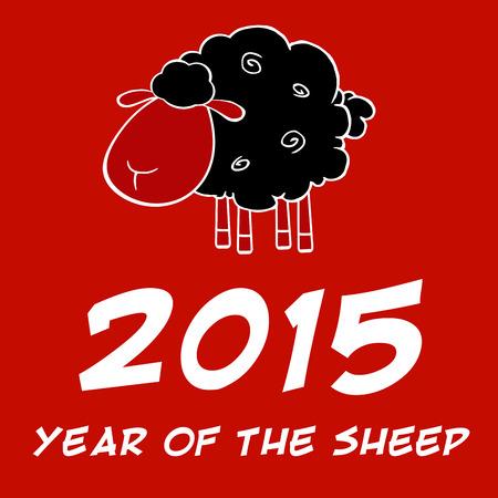 zwart schaap: Jaar van het schaap 2015 Ontwerp Met Zwarte Schapen Stock Illustratie