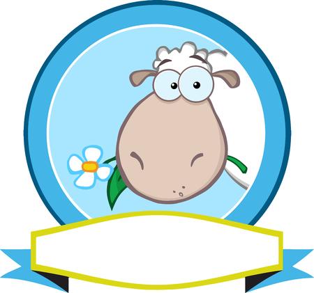 pasen schaap: Cartoon Blue Circle Label met schapen en Lint Stock Illustratie