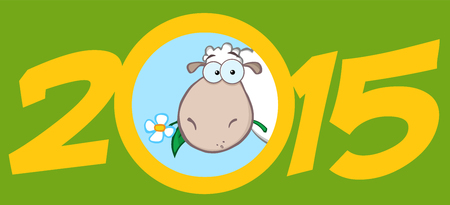 Year Of Sheep 2015 Numbers Green Design Card With Sheep Head