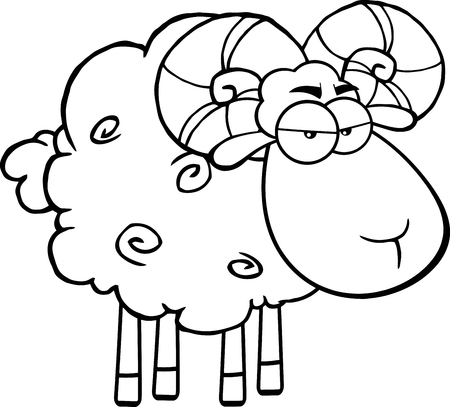 ram sheep: Black And White Angry Ram Sheep Cartoon Mascot Character Illustration