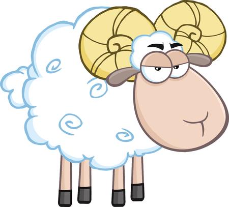 Angry Ram Sheep Cartoon Mascot Character