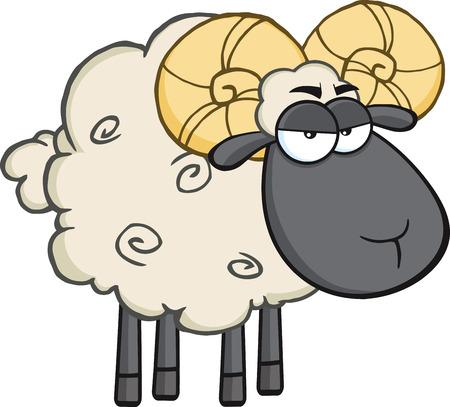 Angry Black Head Ram Sheep Cartoon Mascot Character Vector