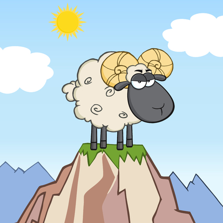 ram sheep: Angry Black Head Ram Sheep Cartoon Mascot Character On Top Of A Mountain Illustration