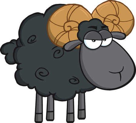 ram sheep: Angry Black Ram Sheep Cartoon Mascot Character