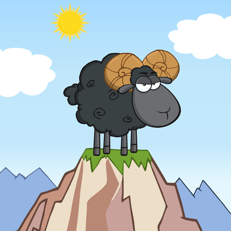 Angry Black Ram Sheep Cartoon Mascot Character On Top Of A Mountain