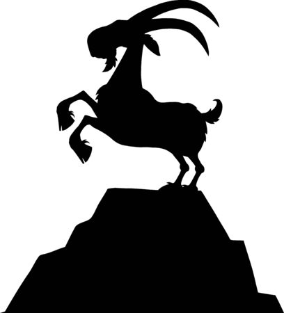 Black Goat Silhouette On Top Of A Mountain Peak Isolated On White Background