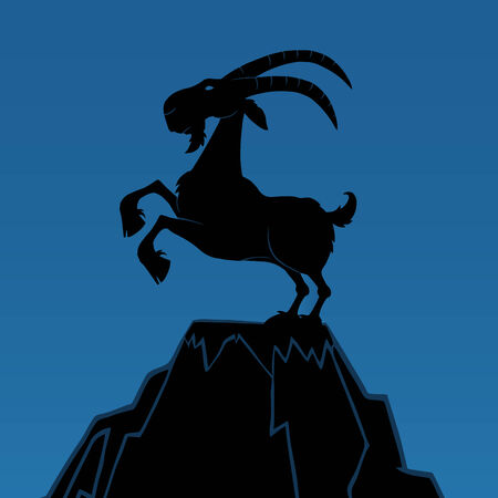 Black Ram Monochrome On Top Of A Mountain Peak On Blue Background