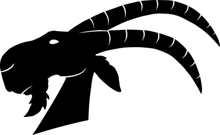 Goat Head Monochrome Illustration Isolated On White Background Vector