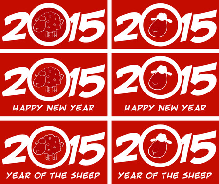 Year Of Sheep 2015 Numbers Design Cards 1. Collection Set Vector