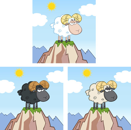 Goat Ram Sheep Cartoon Mascot Character On Top Of A Mountain. Collection Set Ilustracja