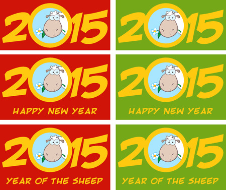 catoon: Year Of Sheep 2015 Numbers Green Design Card With Catoon Sheep And Text. Collection Set Illustration