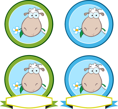 pasen schaap: Cartoon Green Circle Labels With Sheep. Collection Set Stock Illustratie