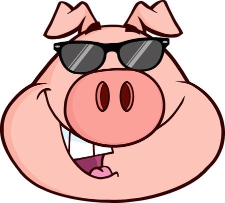 幸せな豚頭漫画のマスコット キャラクター。白地図免  イラスト・ベクター素材
