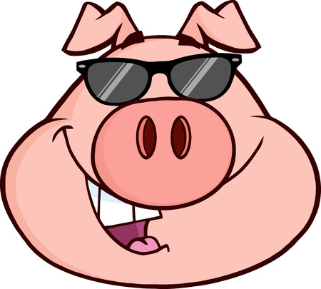 Happy Pig Head Cartoon Mascot Character. Illustration Isolated on white