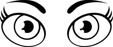 ojos caricatura: Blanco y negro lindos ojos de las mujeres de dibujos animados. Ilustración aislado en blanco