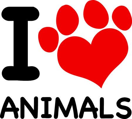 paw print: I Love Animals texto con la pata roja del coraz�n de la impresi�n. Ilustraci�n aislado en blanco