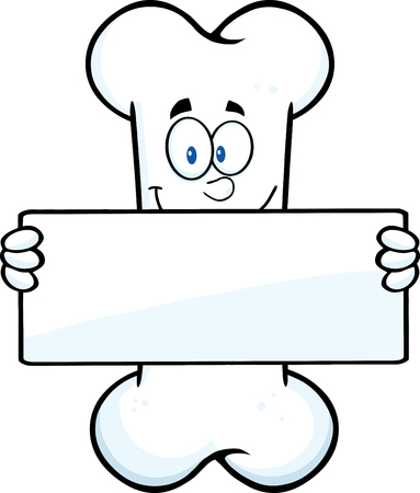Funny Bone Cartoon Mascot Character Holding A Banner. Illustration Isolated On White Background