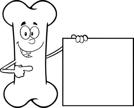 Zwart-wit Gelukkig Bone Cartoon Mascot Karakter Toont Een Leeg Teken. Illustratie Op Een Witte Achtergrond Stock Illustratie