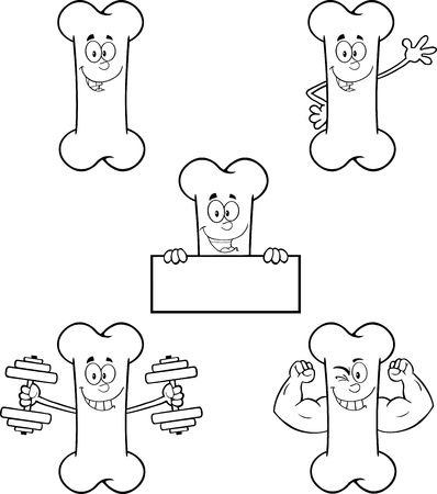 strong: Black And White Funny Bone Cartoon Mascot Character 1. Collection Set