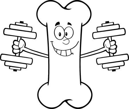 Zwart-wit Lachend Bone Cartoon Mascot Karakter training met halters. Illustratie Op Een Witte Achtergrond