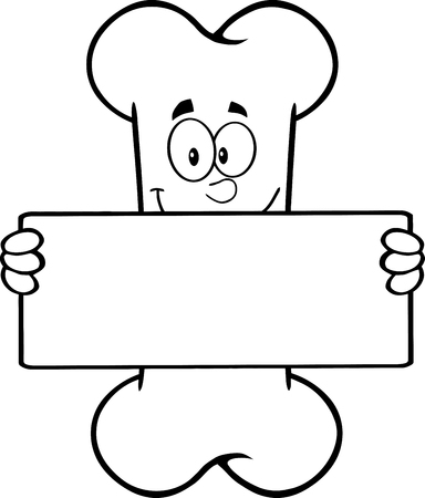 outlined isolated: Black And White Funny Bone Cartoon Mascot Character Holding A Banner. Illustration Isolated On White Background