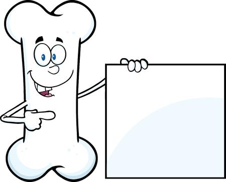 Gelukkig Bone Cartoon Mascot Karakter Met Een Leeg Teken. Illustratie Op Een Witte Achtergrond Stock Illustratie
