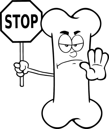 Black And White Angry Bone Cartoon Mascot Character Holding A Stop Sign. Illustration Isolated On White Background Vector