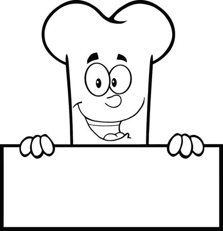 Zwart-wit Lachend Bone Cartoon Mascot Karakter Over een leeg teken. Illustratie Op Een Witte Achtergrond Stock Illustratie