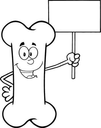 Zwart-wit Funny Bone Cartoon mascotte karakter houden een leeg teken. Illustratie Op Een Witte Achtergrond