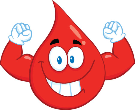 Smiling Red Blood Drop Cartoon Mascot Character Showing Muscle Arms. Illustration Isolated On White Background