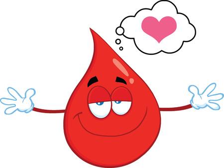 Glimlachend Red Blood Drop Cartoon Mascot Karakter Met Open Armen voor het koesteren. Illustratie Op Een Witte Achtergrond