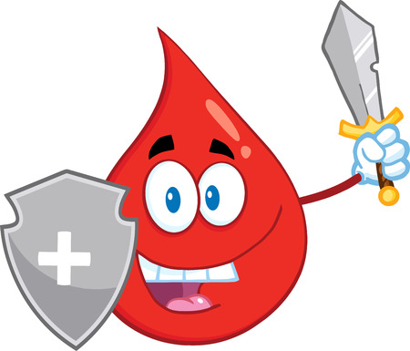 face guard: Red Blood Drop Guarder Cartoon Mascot Character With Shield And Sword. Illustration Isolated On White Background