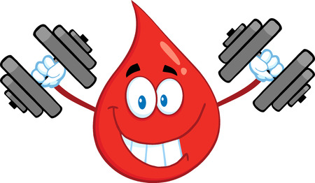 Smiling Red Blood Drop Cartoon Mascot Character Training With Dumbbells. Illustration Isolated On White Background Vector