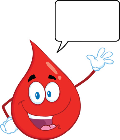 Happy Red Blood Drop Cartoon Mascot Character Waving With Speech Bubble. Illustration Isolated On White Background