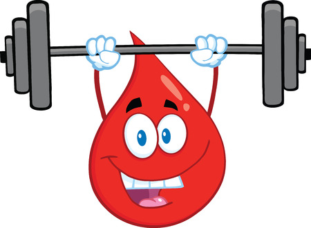 Red Blood Drop Cartoon Mascot Character Lifting Weights. Illustration Isolated On White Background Vector