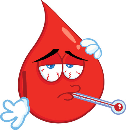 Sick Blood Drop Cartoon Mascot Character With Thermometer. Illustration Isolated On White Background
