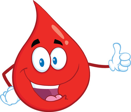 Cartoon Mascot Rouge goutte de sang donnant un caractère Pouce en l'air. Illustration isolé sur fond blanc