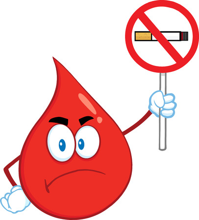 Angry Red Blood Drop Cartoon Mascot Character Holding Up A No Smoking Sign. Illustration Isolated On White Background