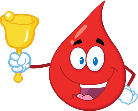 Red Blood Drop Cartoon Mascot Character Waving A Bell For Donation. Illustration Isolated On White Background