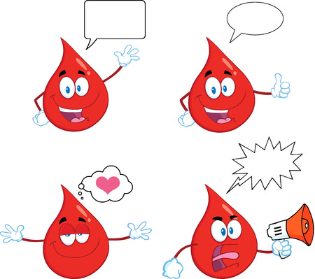 Red Drop Cartoon Mascot Character In Different Poses 7. Collection Set