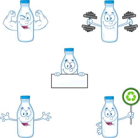 Milk Bottle Cartoon Mascot Character In Different Poses 3. Collection Set Illustration