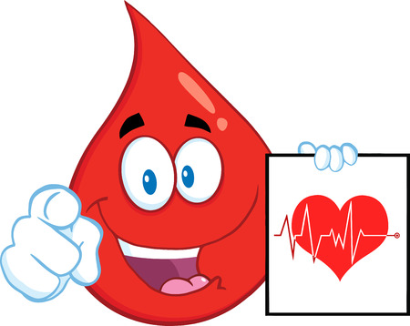 Red Blood Drop Character Pointing With Finger And Presenting Ecg Graph On Red Heart. Illustration Isolated On White Background