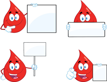 Red Drop Cartoon Mascot Character In Different Poses 2. Collection Set Vector