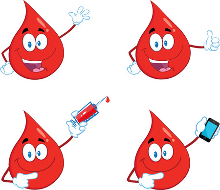 blood donation: Red Drop Cartoon Mascot Character In Different Poses 5. Collection Set