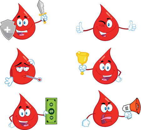 Red Drop Cartoon Mascot Character In Different Poses 6. Collection Set Vector