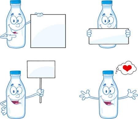 Milk Bottle Cartoon Mascot Character In Different Poses
