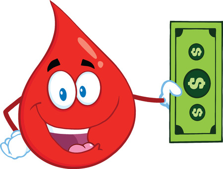 Happy Red Blood Drop Cartoon Mascot Character Showing A Dollar Bill. Illustration Isolated On White Background