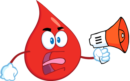 Angry Red Blood Drop Cartoon Mascot Character Screaming Into Megaphone.